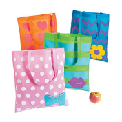 4 ~ Cute Glitter Accent Tote Bags / Gift Bags ~ Nonwoven polyester ~ 38cm x 43cm with 28cm handles ~ New