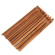 Bamboo Handle Crochet Hooks Set 12 Pcs Home Sewing Tools Bamboo Sweater knitting Circular Handle Crochet Hooks Smooth Weave Craft Needle
