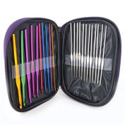 22pc/lot Metal Needles Knitting Set, Handle Crochet Hook, Sewing Knitting Tools, Stainless Aluminium Handle Hook Knit Needlework for Sweater Gloves