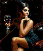 LB DIY Oil Painting , Paint By Number Kits Digital Oil Painting -The Sex Lady With Red Wine 41cm x 50cm .