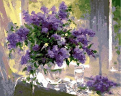 LB DIY Oil Painting , Paint By Number Kits For Kids & Adults -Purple Flower With Green Leaves ,Great Mother's Day Gift 41cm x 50cm .