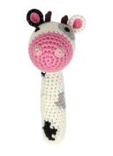 Organic Bamboo Crocheted Cow Stick Rattle