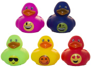 """Set of Five 5.1cm Rubber Duckies """"Smiley Faces"""""""