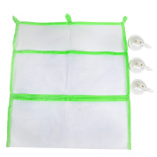 Artempo Bath Toys Organiser – Strong, Quick to Dry – Waterproof- Storage Bag With 3 Suction Cups, 4 Storage Pockets, White/Green