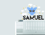 Personalised Name Clouds Stars And Bat Animal Series - Baby Boy - Wall Decal Nursery For Home Bedroom Children(731)