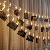 Neo LOONS LED Photo Clips String Lights,Battery Operated, (3m/30 LEDs ; 3 Modes) -Warm White, Perfect fit Room Decoration/Christmas/Party Photo Holder with Clips