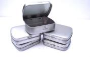 5 x Silver Micro/Mini Hinged Mint/Storage Tins