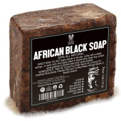 Best Raw ORGANIC AFRICAN NATURAL BLACK SOAP, for Acne Treatment, Eczema, Dry Skin, Psoriasis and Scars. 100% Pure & Natural, Imported From Ghana - 0.5kg