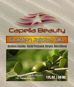 Pure Jojoba Oil, Golden, for Skin, Hair, Scalp, nails & everything. Rejuvenates, moisturises, disinfect and strengthens, maintains balance, helps against sun burns, treats acne, by Capella Beauty