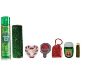 Jarosa's Ultimate Set of Bath & Body Works VANILLA BEAN NOEL Mist & Sleeve, WRAP QUEEN PocketBac & Holder, & TWISTED PEPPERMINT Scentportable Refill & Visor Clip with a Jarosa Chocolate Bliss Lip Balm