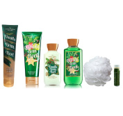 Jarosa's Ultimate Gift Set of Bath & Body Works Holiday Traditions VANILLA BEAN NOEL Shower Gel, Lotion, Ultra Shea Cream, Shea & Sparkle Scrub & Puff with a Jarosa Organic Peppermint Lip Balm