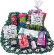 Aromatics Spa Bath Mothers Day Gift Basket - Sign, Potpourri, Sachets, Candle, Shower Gel, Body Butter, Pedicure Tool, Eye Mask, Sponges, & Candy