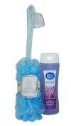 Body Luxuries Long Handle Bath & Shower Mesh Pouffe / Loofah with BONUS Body Wash Gel