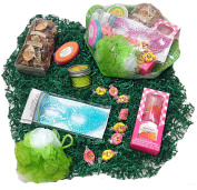 Aromatic Spa Bath Mothers Day Gift Basket - Potpourri, Candle, Shower Gel, Body Butter, Pumice Stone, Eye Mask, Sponge & Candy