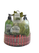 Olive Oil Essence Bath Gift Bamboo Basket Set - Shower gel, Body lotion, Bath salt, Body scrub, Puff.
