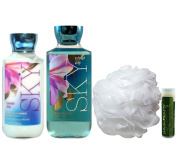 Jarosa's Gift Set of Bath & Body Works SKY VIOLET LILY Body Lotion, Shower Gel & Shower Puff with a Jarosa Bee Organic Peppermint Lip Balm