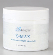 60ml -K MAX- Maximim Strength Vitamin K 5% Cream for Stretch Marks, Spider Veins, Acne Scars, Broken Capillaries, Rosacea, Puffy Dark Eye Circles, bruises- Works on Legs, Arms, Face, & Nose