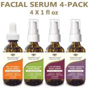 4 Bottle Serum Set – Natural Logix Anti-Ageing Facial Serums - 20% VITAMIN C (30ml) | 2.5% RETINOL (30ml) | 5% HYALURONIC ACID (30ml) | PEPTIDE COMPLEX (30ml), Natural and Vegan