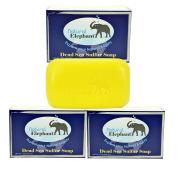 Dead Sea Sulphur Soap 130ml 3 Pack (3 Soap Bars) by Natural Elephant