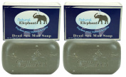 Dead Sea Mud Soap 260ml (2 units - 130ml bars) All Natural Face Body Cleanser by Natural Elephant