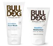 Bulldog Skincare Sensitive Face Wash and Moisturiser For Men With 2 Essential Oils, Green Tea, Green Algae, Konjac Mannan and Vitamin E, 5 and 100ml each
