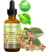 SACHA INCHI OIL ORGANIC. 100% Pure / Natural / Undiluted/ Virgin / Unrefined. 2 Fl.oz.- 60 ml. For Skin, Hair, Lip and Nail Care.