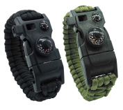 Survival Bracelet, Featured Outdoor Paracord Survival Bracelet, Whistle,Compass, Temp, & Fire Starter Functional Tool for Hiking Camping Hunting.