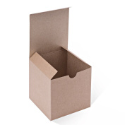 MESHA Kraft Boxes 50 Pack 4x 10cm x 10cm , Brown Cardboard Gift Boxes with Lids for Gifts, Crafting, Cupcake Boxes