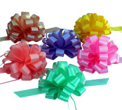 Easter Basket Ribbons - 20cm Wide, Set of 6 Pull Bows, Lavender, Mint, Yellow, Rose