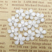 20 Pcs Resin Flowers Embellishments Cabochons DIY Hand Craft Accessories White