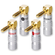 4x Yonix High End Banana plugs | Angled Gold Plated | BSY 345