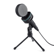 AUKEY Condenser Microphone with Stand/Volume Control, Broadcasting Recording Studio for Laptops, Desktop Computers, Cell Phone - Black