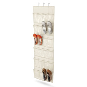 24 Pouches Door Hanging Organiser, Clear Reinforced PVC Pocket Collection Over-The-Door Shoe Storage Organiser White