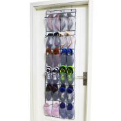 MISUE Vinyl Over Door Shoe Organiser with 24 Reinforced Pockets. Organise your shoes with this shoe rack over door organiser and save space. Hang on standard doors with 3 steel over door hooks