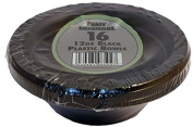 48 x BLACK PLASTIC BOWLS - 350ml/15cm Great for Parties .