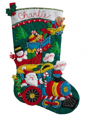Bucilla 46cm Christmas Stocking Felt Appliqué Kit, 86708 Choo Choo Santa
