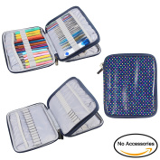 Teamoy Organiser Case for Interchangeable Circular Knitting Needles, Crochet hooks and Knitting Accessories, Keep All in One Place and Easy to Carry, Colourful Dots