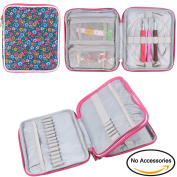 Teamoy Organiser Case for Interchangeable Circular Knitting Needles, Crochet hooks and Knitting Accessories, Keep All in One Place and Easy to Carry, Flowers Blue