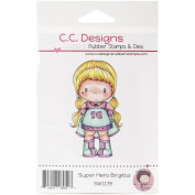 C.C. Designs Superhero Birgitta Swiss Pixie Cling Stamp, 8.3cm by 4.4cm