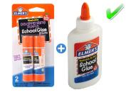 Elmer's bundle Washable Liquid School Glue, White, Dries Clear, 120ml Plus Disappearing Purple Elmer's School Glue Stick, 6g, 2pk