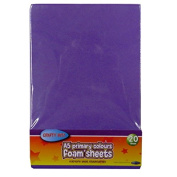 A5 Foam Coloured Sheets - Pack of 20 – 10 Primary Colours - Size 21cm x 15cm