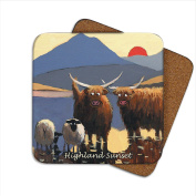 Highland Sunset Coaster by Thomas Joseph - Funny Sheep