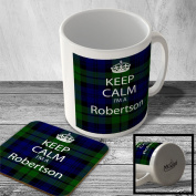 MAC_KC_197 Keep Calm I'm a Robertson (Tartan, Scottish Clan) - Mug and Coaster set