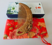 125.5CM No Static Green Sandalwood Wooden Comb Health Care Comb / Carved Peony S9