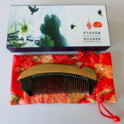 Green Sandalwood Hair Comb | No Static Detangling Natural Aroma Handmade Wooden Buffalo Horn Comb | Premium Giftbox S7