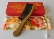 Green Sandalwood Hair Comb | No Static Detangling Natural Aroma Handmade Wooden Buffalo Horn Comb | Premium Giftbox S6