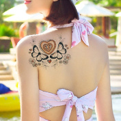 TAFLY Fake Tattoos Butterfly and Heart Temporary Tattoos 2 Sheets