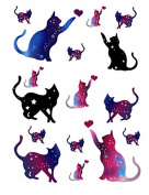 Set of 2 Waterproof Temporary Fake Tattoo Stickers Cute Blue Pink Cats Stars Cartoon Design