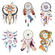 COKOHAPPY 6 Sheets Dream Catcher Design and Feather Body Make-up For Women Flash Temporary Tatoo