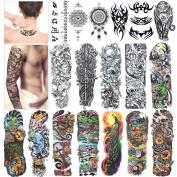 Full Arm Temporary Tattoo, Konsait Extra Temporary Tattoo Black tattoo Body Stickers for Man Women